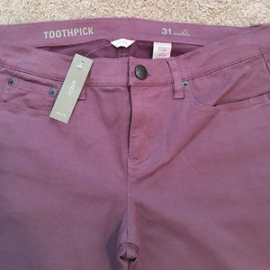 J. Crew Toothpick Ankle Jeans in Purple